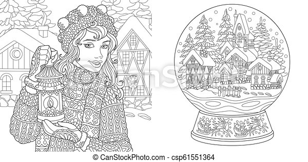 Coloring pages with winter woman, magic crystal ball - csp61551364