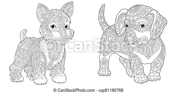 Coloring Pages With Yorkie And Dachshund Dogs Coloring Pages Cute Yorkshire Terrier And Dachshund Line Art Design For Canstock