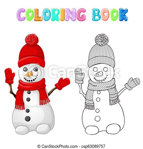 Coloring snowman with red hat, scarf and glove isolated on white - csp63089757