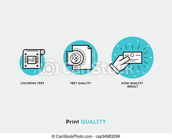 Coloring test, test quality, hight quality result flat illustration Set of line modern icons for print design - csp34983299