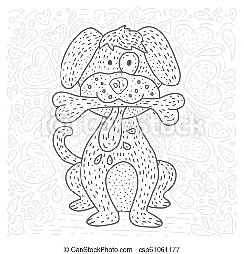 Coloring vector page with cartoon doodle animal. - csp61061177