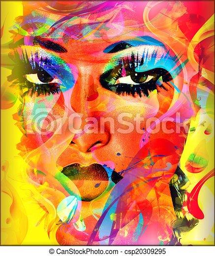 colorito, donna, faccia astratta - csp20309295