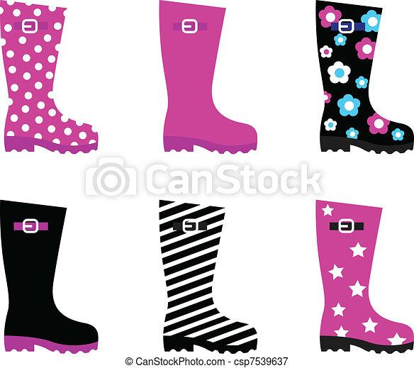 colorito, &, isolato, stivali, pioggia, wellies, fresco, bianco - csp7539637