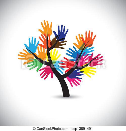 colorito, &, vecto, foglie, mano, tree-, palma, fiori, impronte - csp13891491