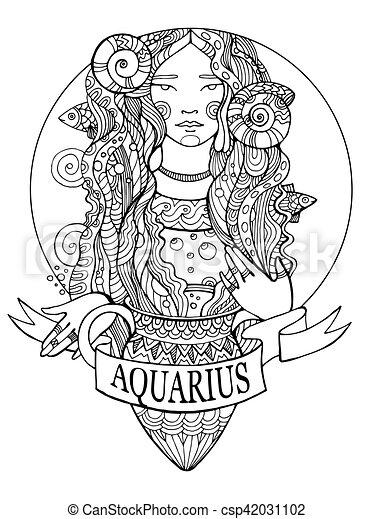 Disegno Acquario Segno Zodiacale.Coloritura Acquario Segno Vettore Zodiaco Libro