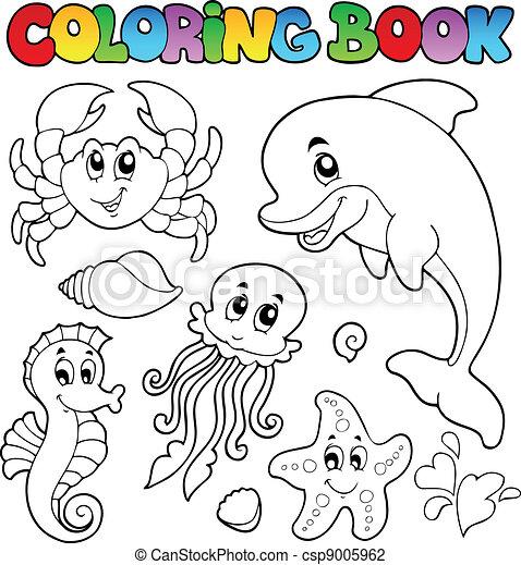 coloritura, animali 2, vario, mare, libro - csp9005962
