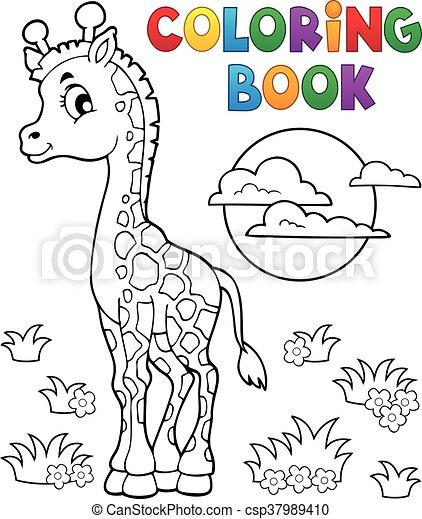 coloritura, giraffa, libro, giovane - csp37989410