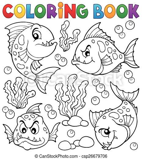 coloritura, piranha, 1, tema, libro, pesci - csp26679706