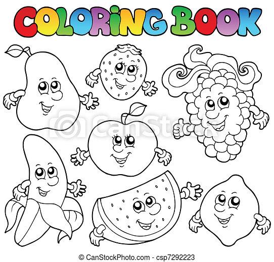 coloritura, vario, libro, frutte - csp7292223