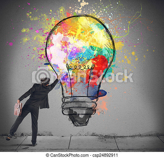 Colors a lightbulb - csp24892911