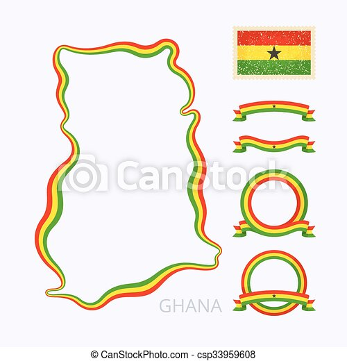 Colors Of Ghana Outline Map Of Ghana Border Is Marked With - Ghana map vector