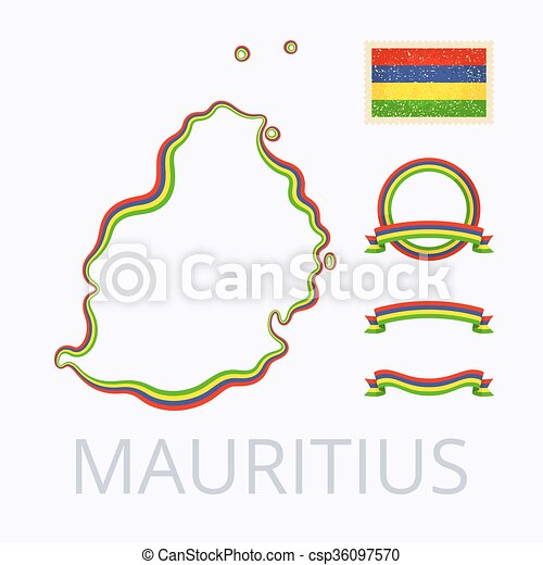 Colors of mauritius. Outline map of mauritius. border is marked with ...