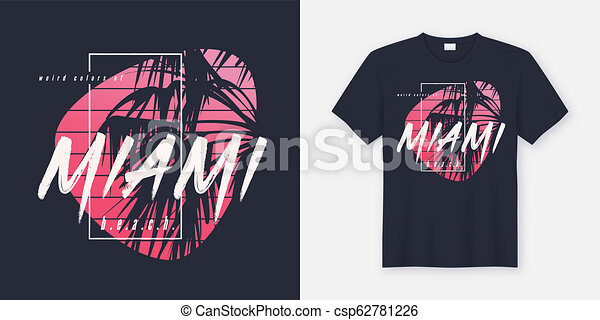 Colors of Miami beach graphic tee vector design with palm tree - csp62781226
