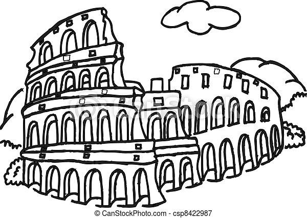 Colosseo roma colosseo illustrazione roma for Colosseo da colorare