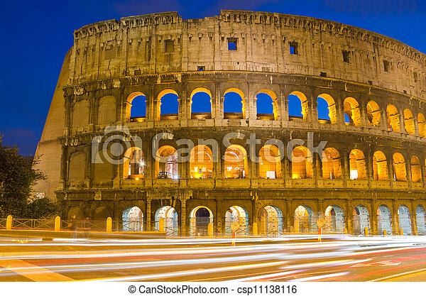 colosseum, ローマ, イタリア, 夕闇 - csp11138116
