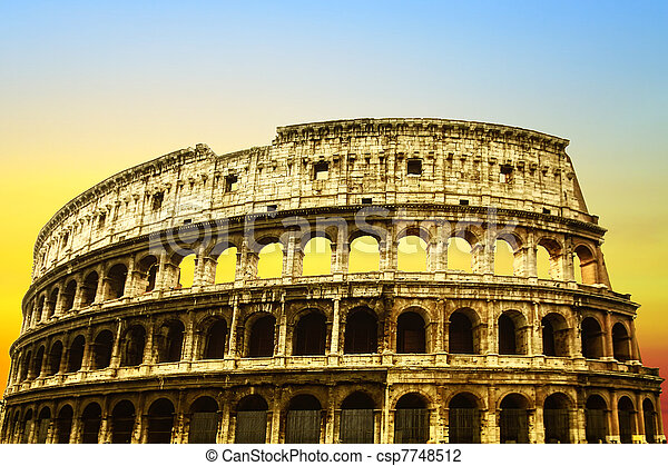 Colosseum at sunset - csp7748512