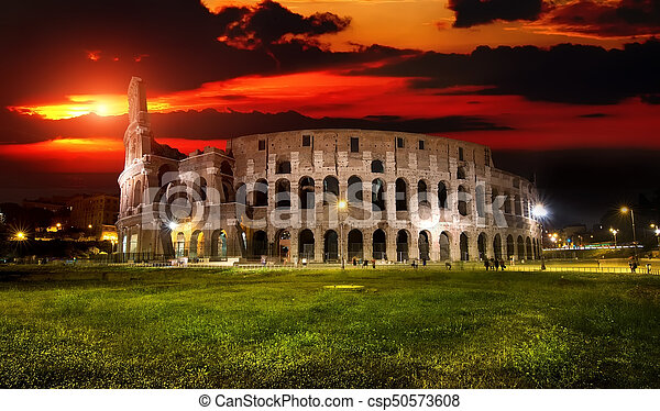 Colosseum at sunset - csp50573608