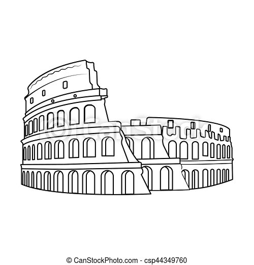 Colosseum in italy icon in outline style isolated on white ...