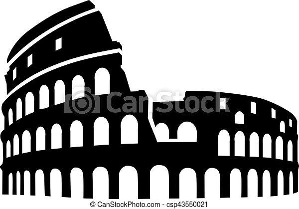 Colosseum rome silhouette - csp43550021