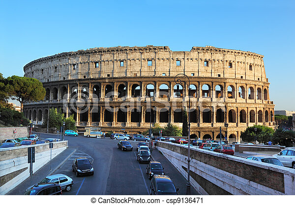 Colosseum, world famous landmark in Rome, Italy. Colosseum is largest ancient Roman amphitheater - csp9136471