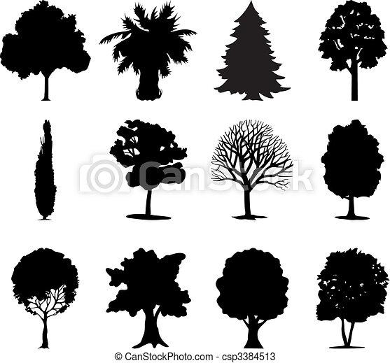 colour., abbildung, one-ton, vektor, schwarz, bäume - csp3384513
