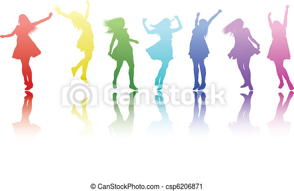 Colour girls. A beautiful colourful row of silouetted girls ...