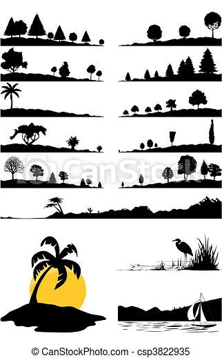 Landscapes y árboles de color negro. Una ilustración del vector - csp3822935
