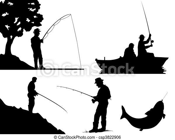 colour., ilustracja, sylwetka, wektor, czarnoskóry, rybacy - csp3822906