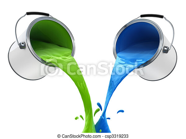 colour paint pouring from bucket - csp3319233