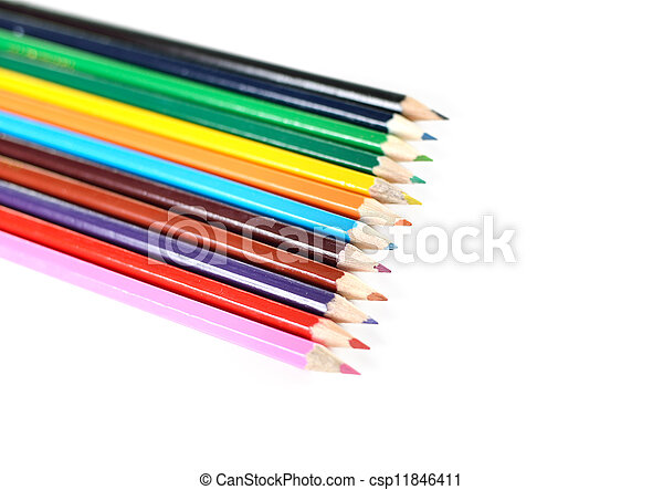 Colour pencils isolated on white background - csp11846411