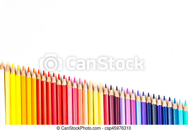 Colour pencils isolated on white background - csp45976310