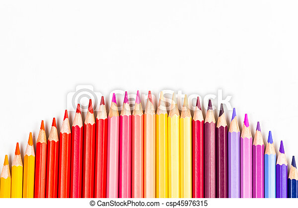 Colour pencils isolated on white background - csp45976315