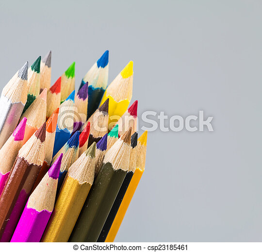 Colour pencils isolated on white background - csp23185461