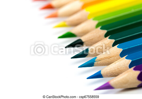 colour pencils isolated on white background - csp67558559