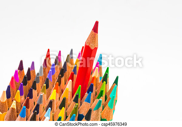 Colour pencils isolated on white background, red colour different - csp45976349