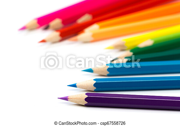 colour pencils isolated on white background - csp67558726