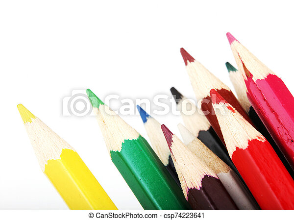 Colour Pencils Isolated On White Background - csp74223641