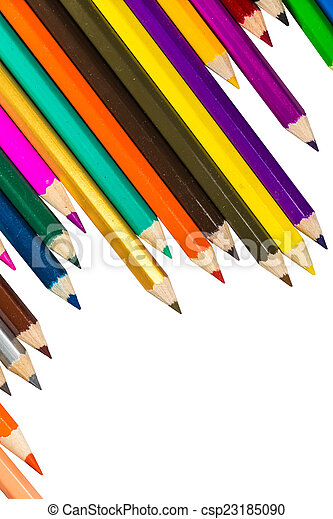 Colour pencils isolated on white background - csp23185090