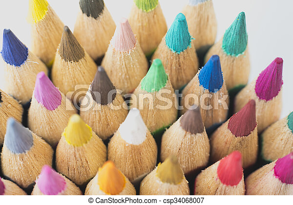 Colour pencils isolated on white background - csp34068007