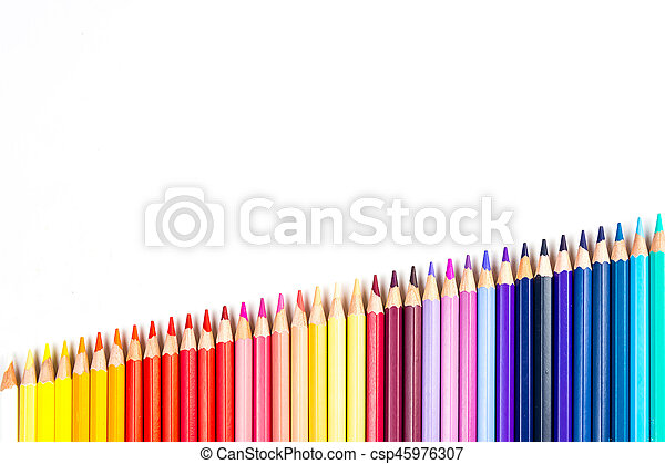 Colour pencils isolated on white background - csp45976307