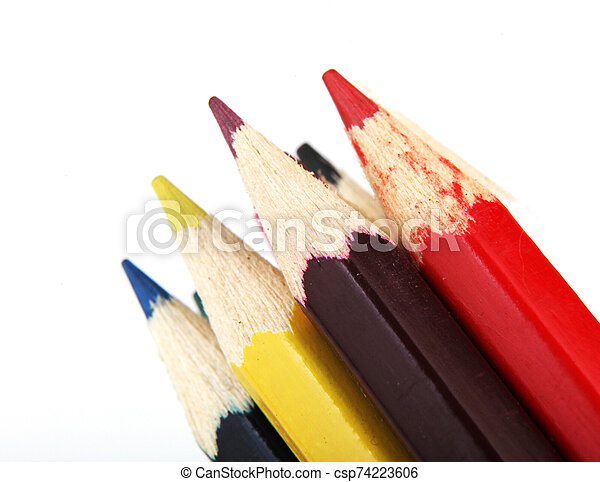 Colour Pencils Isolated On White Background - csp74223606