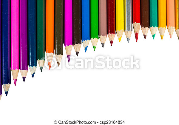 Colour pencils isolated on white background - csp23184834