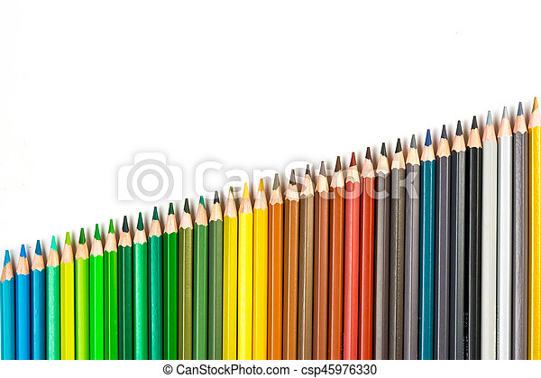 Colour pencils isolated on white background - csp45976330