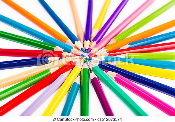 Colour pencils isolated - csp12873574