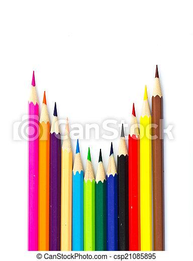 Colour pencils on white background - csp21085895
