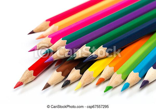 Colour pencils on white background. - csp67557295
