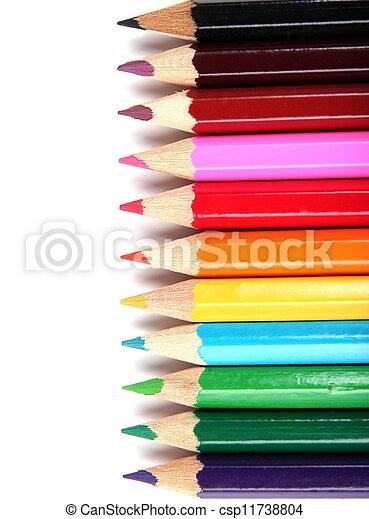 Colour pencils on white background - csp11738804