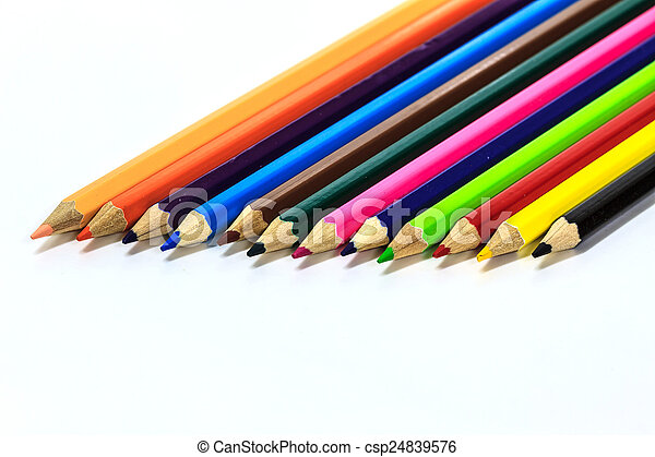 Colour pencils on white - csp24839576
