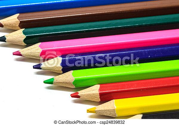 Colour pencils on white - csp24839832