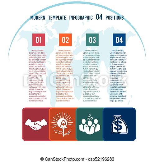 Charts business infographic template step by step colour vector colour squares with columns for the text on a world map 04 positions csp52196283 gumiabroncs Image collections
